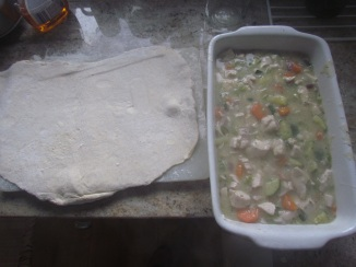 Chicken Pie in Dish with rolled dough