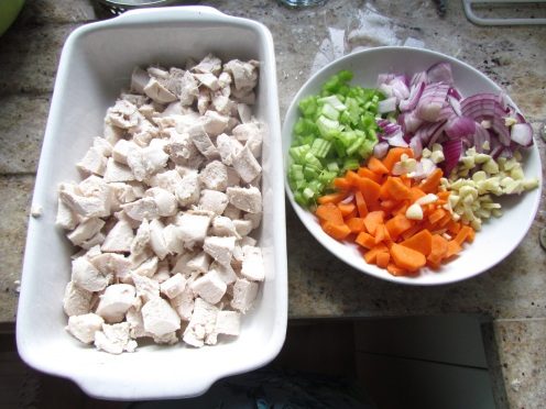 Chicken Pie prepped ingredients