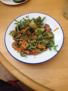 Lentil New Potato Salad with carrot and rocket in work