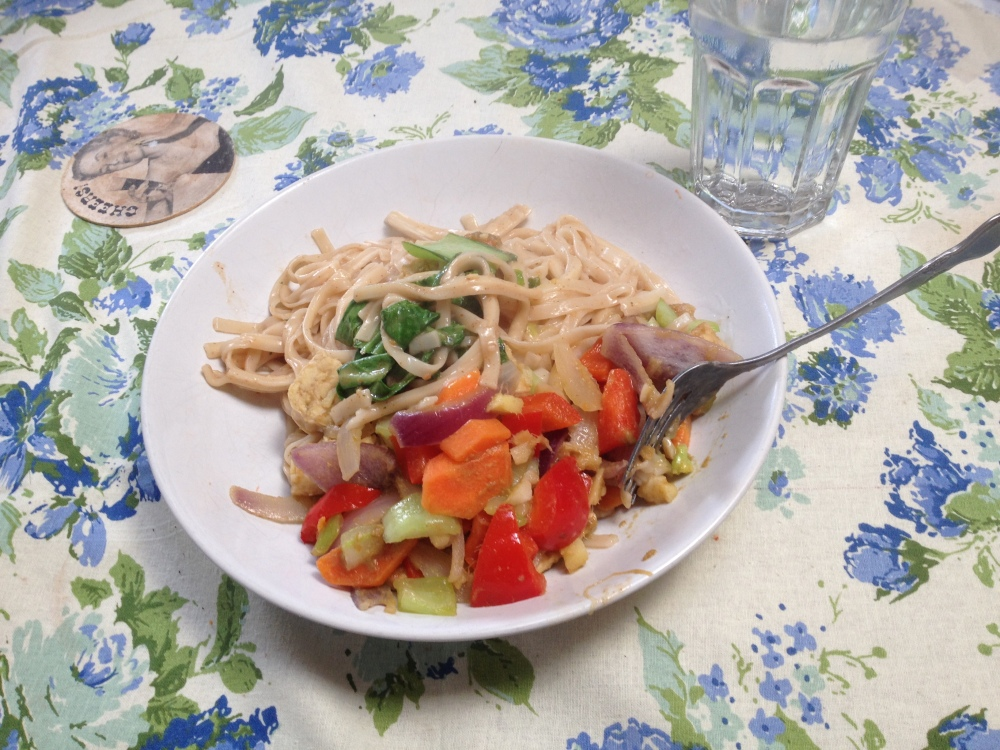 Stir Fry with peanut noodles