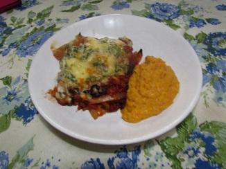 Mex Lasagne on plate