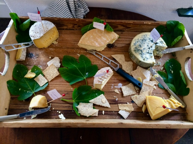 Cheese board served with lunch, so we can broaden our palettes