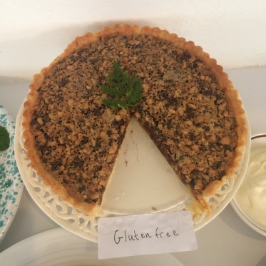 My partner Hilary made this amazing chocolate, hazelnut and orange tart and added some nutmeg which gave a warm, deep flavour.