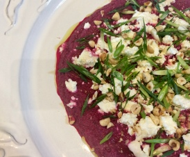 Ottolenghi's pureed beetroot with yoghurt and za'atar, made by Emer