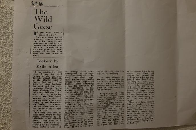 An article on Wild Geese, the Irish Diaspora who set up vineyards